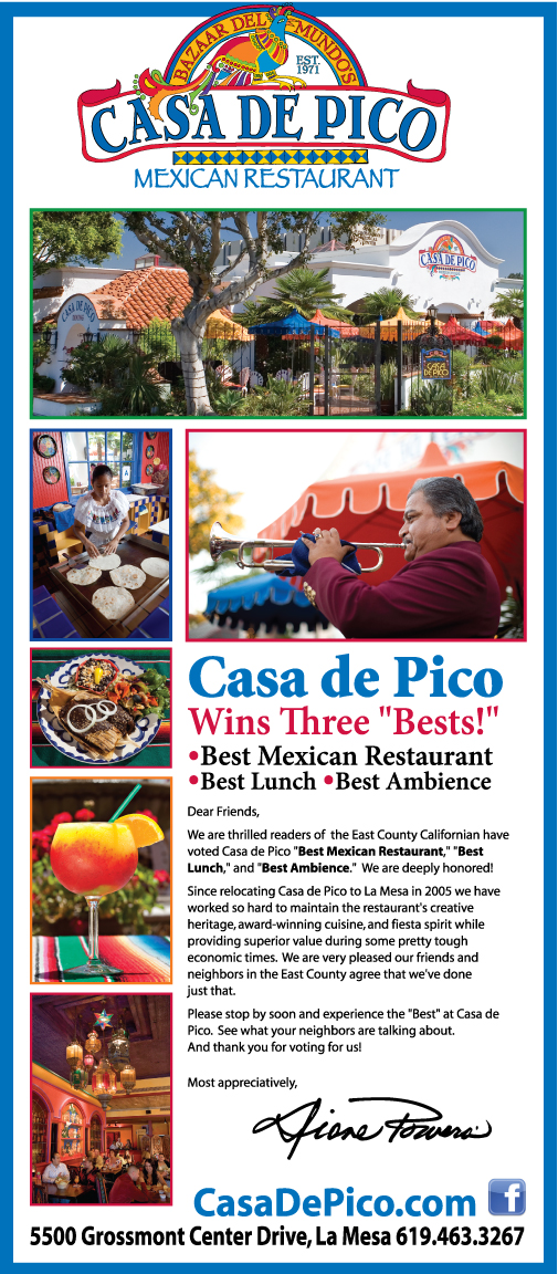 Casa de Pico wins awards from East County Californian Readers Poll