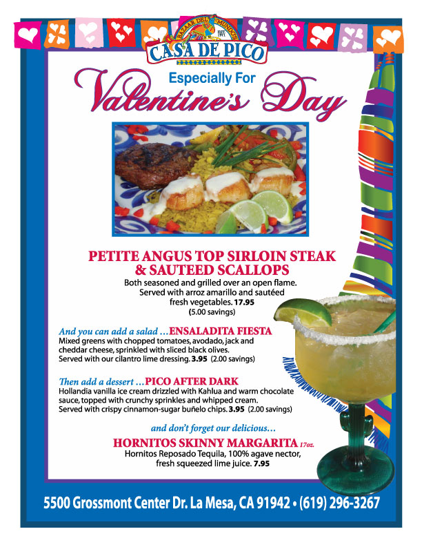 The Casa de Pico Valentine's Day Menu