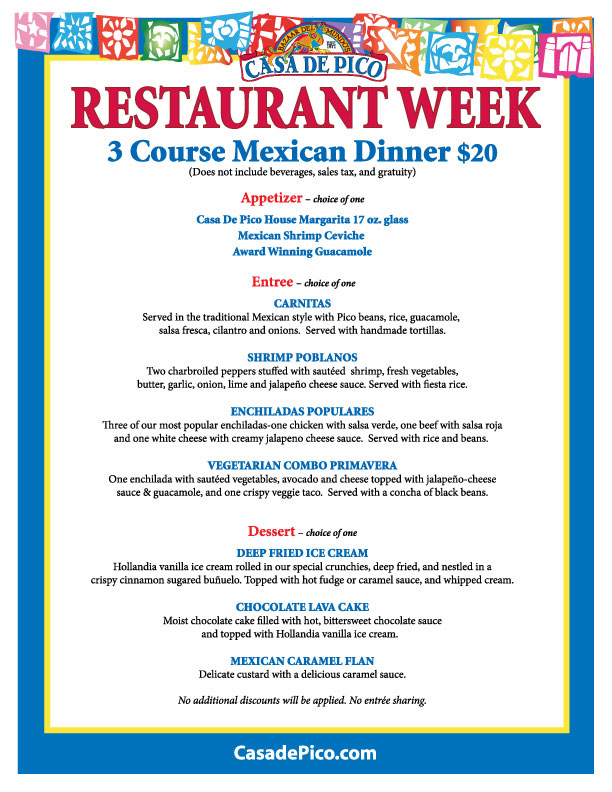 Casa de Pico Dinner Menu for Restaurant Week San Diego September 2012