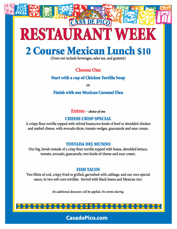 Casa de Pico Lunch Menu for San Diego Restaurant Week 2012