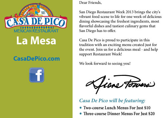 Casa de Pico Restaurant Week January 2013